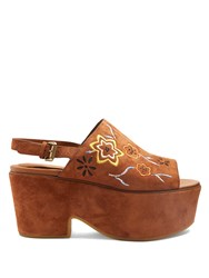 See By Chloe Floral Embroidered Suede Platform Sandals Tan Multi