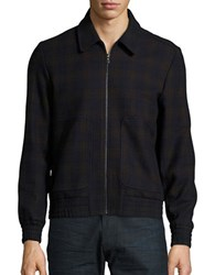 Paul And Joe Ribbed Trimmed Plaid Jacket Marine