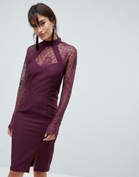 Little Mistress Long Sleeve High Neck Lace Dress Purple