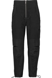 3.1 Phillip Lim Basketweave Cotton And Shantung Tapered Pants Navy