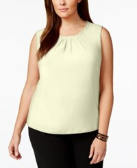 Tahari By Arthur S. Levine Tahari Asl Plus Size Sleeveless Pleat Neck Top Natural
