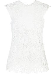 Monique Lhuillier Lace Tank Top White