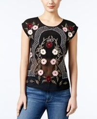 Guess Embroidered Mesh Back Top Jet Black