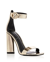 Kendall And Kylie Giselle Metallic Ankle Strap High Heel Sandals Gold