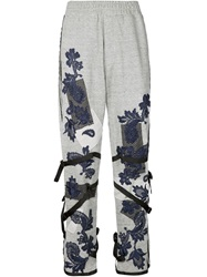 James Long Lace Applique Buckled Track Pants Grey