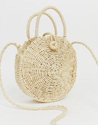 Hat Attack Straw Circle Cross Body Bag Tan