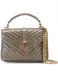 Saint Laurent Classic Medium Monogram College Satchel Grey