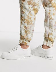 Bershka Gem Detail Lace Front Trainers In White