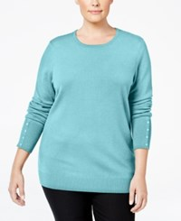 Jm Collection Plus Size Button Sleeve Sweater Only At Macy's Angel Blue