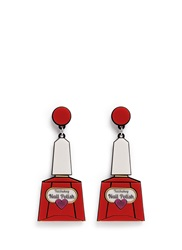 Yazbukey 'Nail Polish' Plexiglas Clip Earrings Red