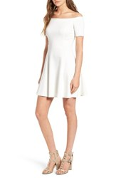 Socialite Women's Off The Shoulder Fit And Flare Dress Ivory