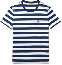 Burberry Slim Fit Striped Cotton Jersey T Shirt Navy