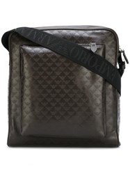 Emporio Armani Logo Pattern Messenger Bag Brown