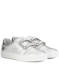Roger Vivier Sneaky Viv Embellished Metallic Leather Sneakers Silver