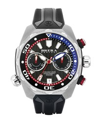 47Mm Prodiver Chronograph Watch With Rubber Strap Black Silver Men's Brera