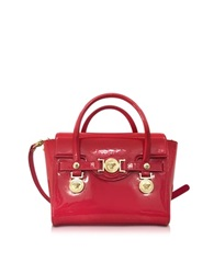 Versace Eros Red Patent Leather Top Handle Satchel Bag