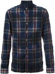 Lanvin Checked Pattern Flannel Shirt Blue