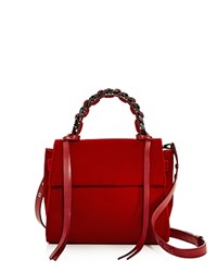 Elena Ghisellini Angel Small Velvet Satchel Red Gunmetal