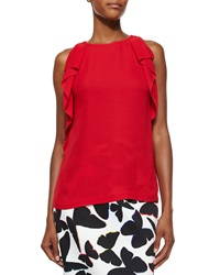 Kate Spade Sleeveless Ruffle Sleeve Crepe Top