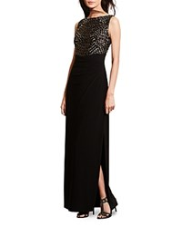 Ralph Lauren Sequin Embroidered Gown Black Gold Black Shine