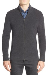 Michael Kors Mock Neck Wool Zip Cardigan Charcoal Melange