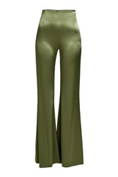 Galvan High Waisted Satin Pants Green