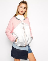 The Ragged Priest Shadow Colour Block Metallic Bomber Jacket Silverpink