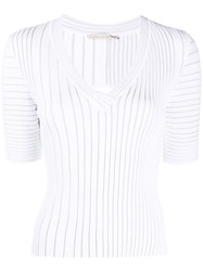 Marco De Vincenzo Ribbed Short Sleeve Top White