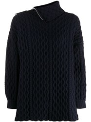 Loewe Zip Cable Knit Sweater Blue