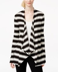 Inc International Concepts Ribbed Striped Open Front Cardigan Black Neutral