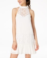 City Triangles Juniors' Crochet Trimmed Shift Dress Ivory