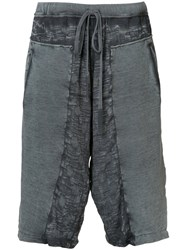 Lost And Found Rooms Distressed Track Shorts Grey