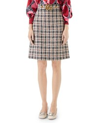 Gucci A Line Tweed Knee Length Skirt With Gg Hardware Multi Pattern