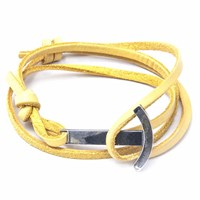 Anchor And Crew Mustard Yellow Clipper Leather Silver Bracelet Yellow Orange