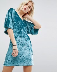 Story Of Lola Velvet Wrap Front Kimono Dress Teal Green