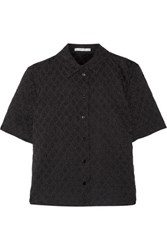 Carven Embroidered Cotton Blend Seersucker Shirt Black