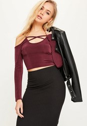Missguided Burgundy Cold Shoulder Cross Front Crop Top Plum