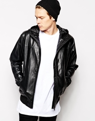 Solid Solid Faux Leather Hooded Jacket Black