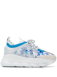 Versace Chain Reaction Floral Print Sneakers White