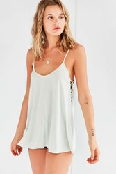 Silence And Noise Catalina Lace Up Side Cami Green
