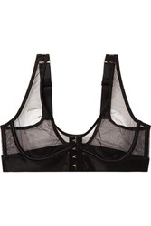 Agent Provocateur Dora Satin Trimmed Stretch Mesh Underwired Bra Black