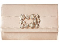 Jessica Mcclintock Alexis Satin Rhinestone Broach Clutch Champagne Clutch Handbags Gold