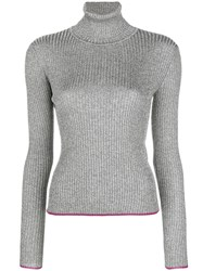 Marco De Vincenzo Ribbed Turtle Neck Sweater Metallic