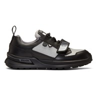 Prada Black And Silver Mechano Sneakers