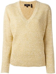 Theory 'Gobi' V Neck Jumper Yellow And Orange