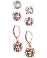 Nine West Tri Tone Multi Color Crystal Stud And Drop Earring Set