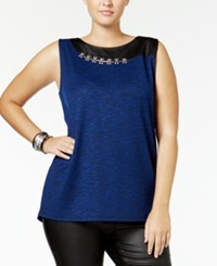 Mblm By Tess Holliday Trendy Plus Size Faux Leather Trim Top Bright Blue