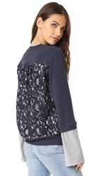 Clu Mix Media Sweatshirt With Lace Panel Navy