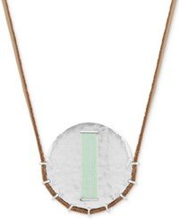 Lucky Brand Silver Tone Thread Wrapped Disc Leather Cord 33 Pendant Necklace