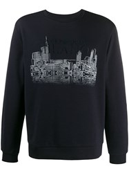 Emporio Armani Graphic Printed Sweatshirt Blue